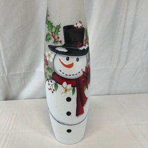 """Illuminated 16"""" Glass Vase with Holiday Design"""